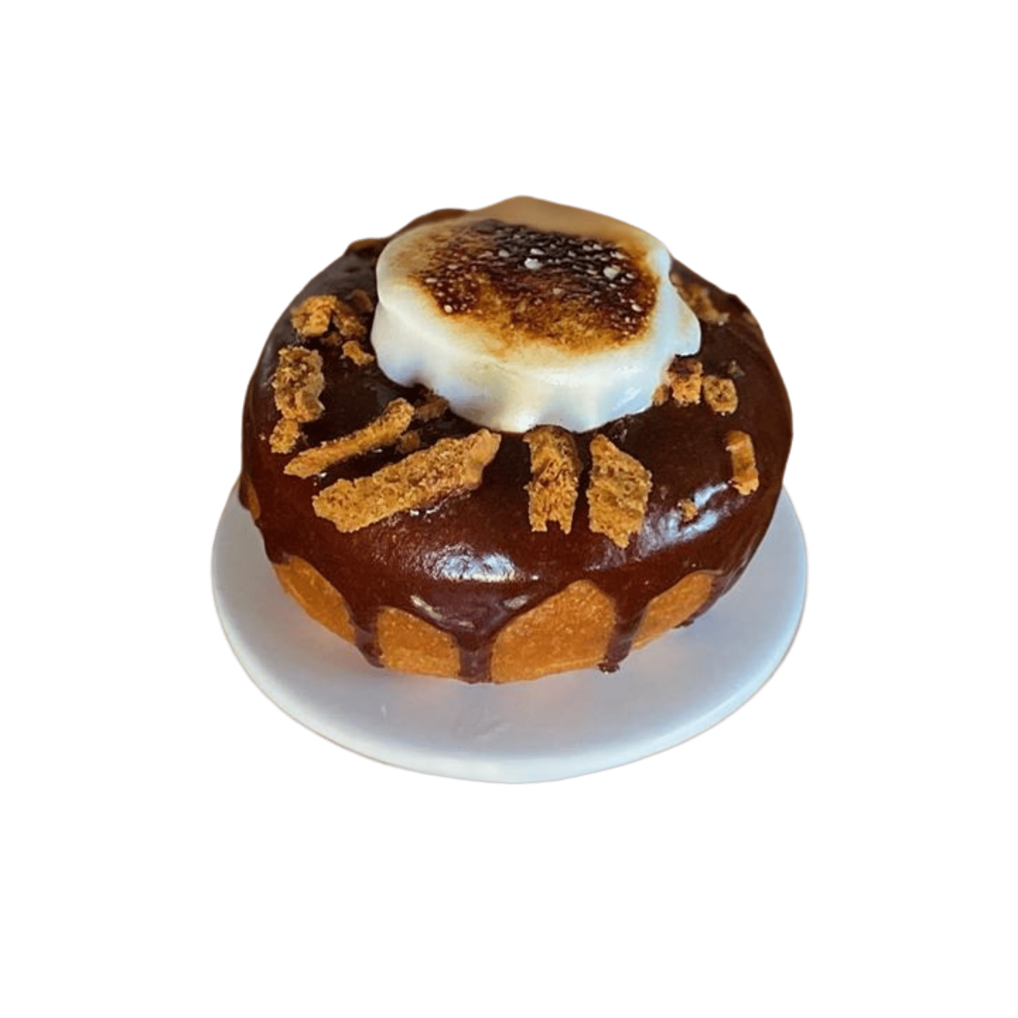 S'more donut on white pedestal stand